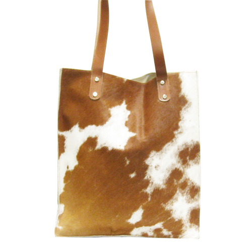 Handbag - Brown Jersey Cow & Sheep Skin Leather w/Strap