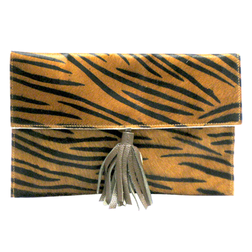 Leather Pelt Brown Black Zebra Print w/Leather Strap