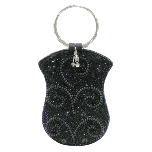 Mobile Bag - Black Beads w/Ring Handle