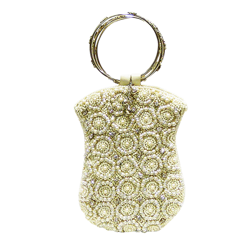 David Jeffery Mobile Bag - Ivory Beads & Pearls w/Silver Ring Handle