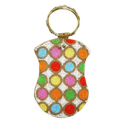 David Jeffery Mobile Bag - Ivory w/Multicolor Beads w/Ring Handle