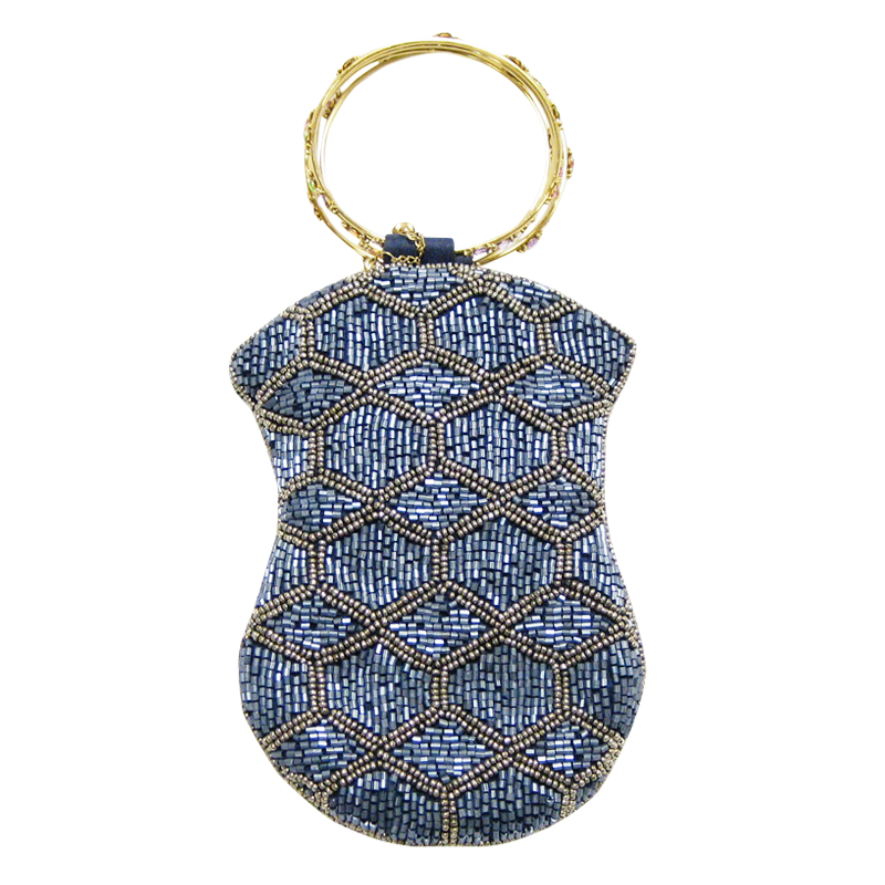 David Jeffery Mobile Bag - Blue & Silver Beads w/Ring Handle
