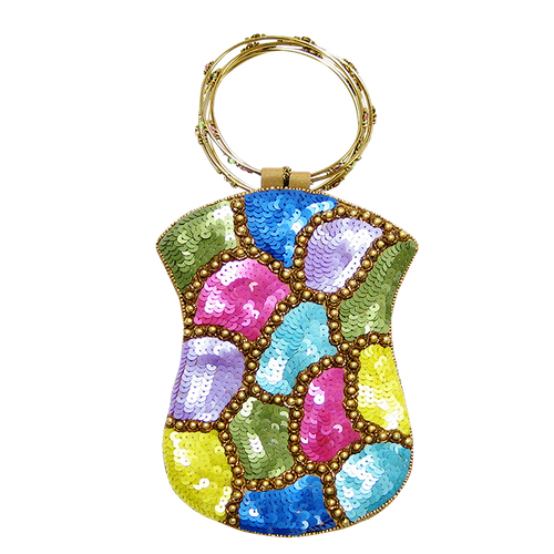 David Jeffery Mobile Bag - Yellow Blue Purple Green Pink Sequins w/Ring Handle