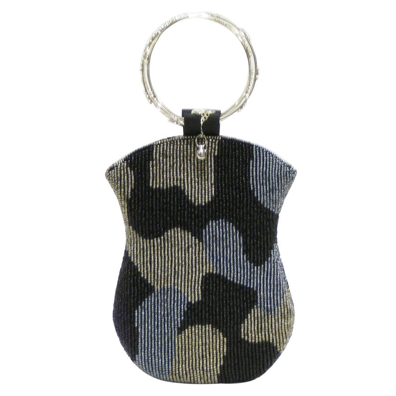 Mobile Bag - Black Blue Silver Beads w/Ring Handle