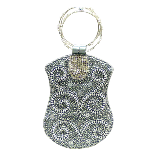 David Jeffery Mobile Bag -Silver Beads & Clear Stones w/Ring Handle