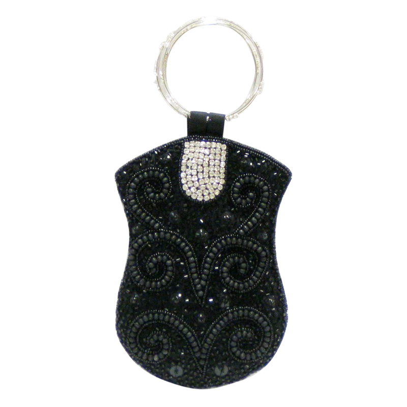 David Jeffery Mobile Bag -Black Beads & Clear Stones w/Ring Handle