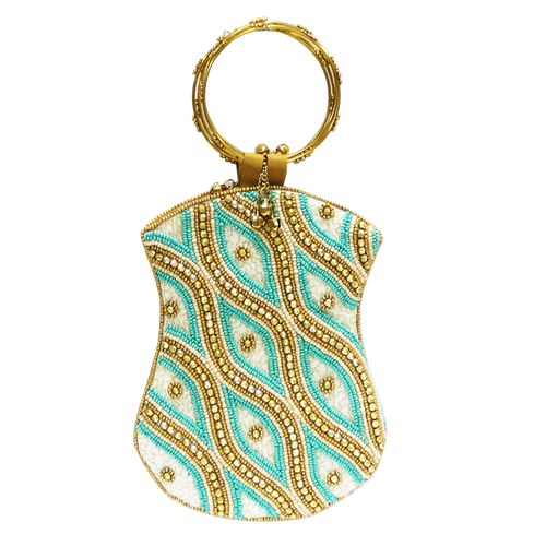 David Jeffery Mobile Bag - Blue Ivory Gold Beads w/Ring Handle