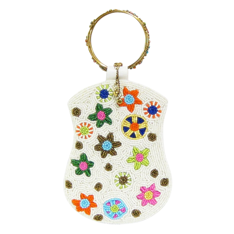 David Jeffery Mobile Bag - White Beads & Colorful Flowers w/Ring Handle
