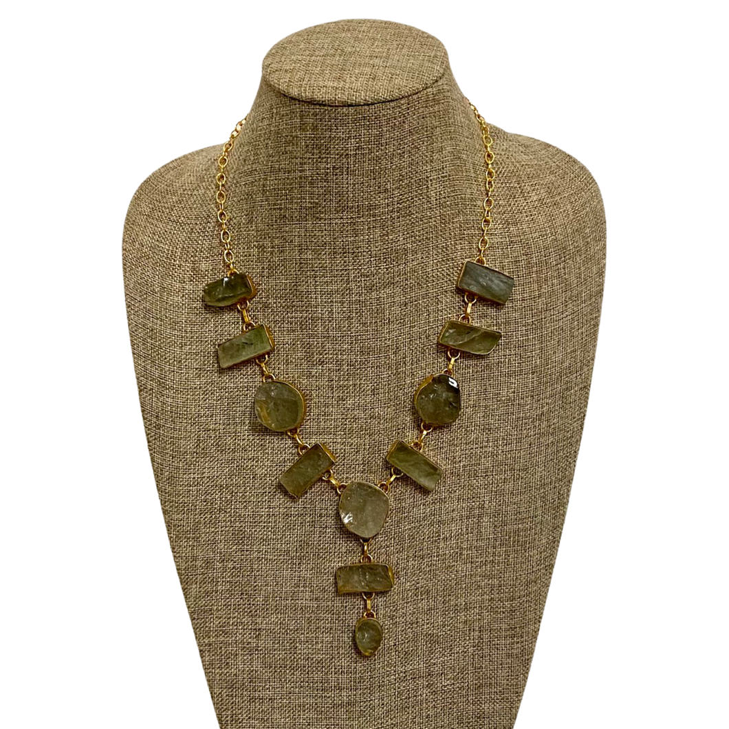 [NSB-39-GA] Necklace w/Green Amethyst Druzy