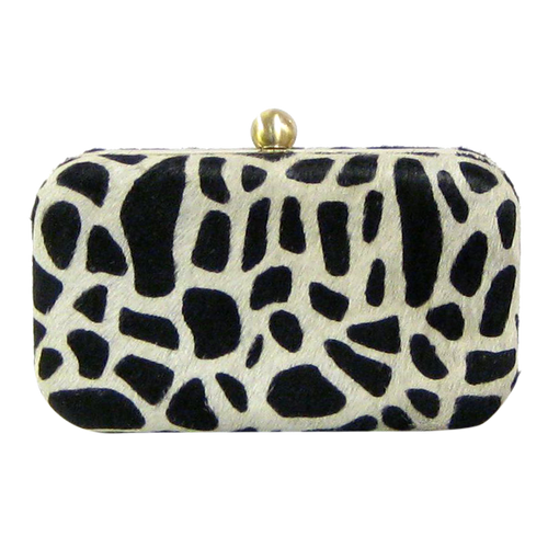 David Jeffery Handbag - Hard Case Cow w/Zebra Print Clutch w/Chain Strap