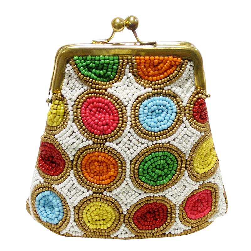 David Jeffery Coin Bag - Orange Yellow Blue Green White Beads
