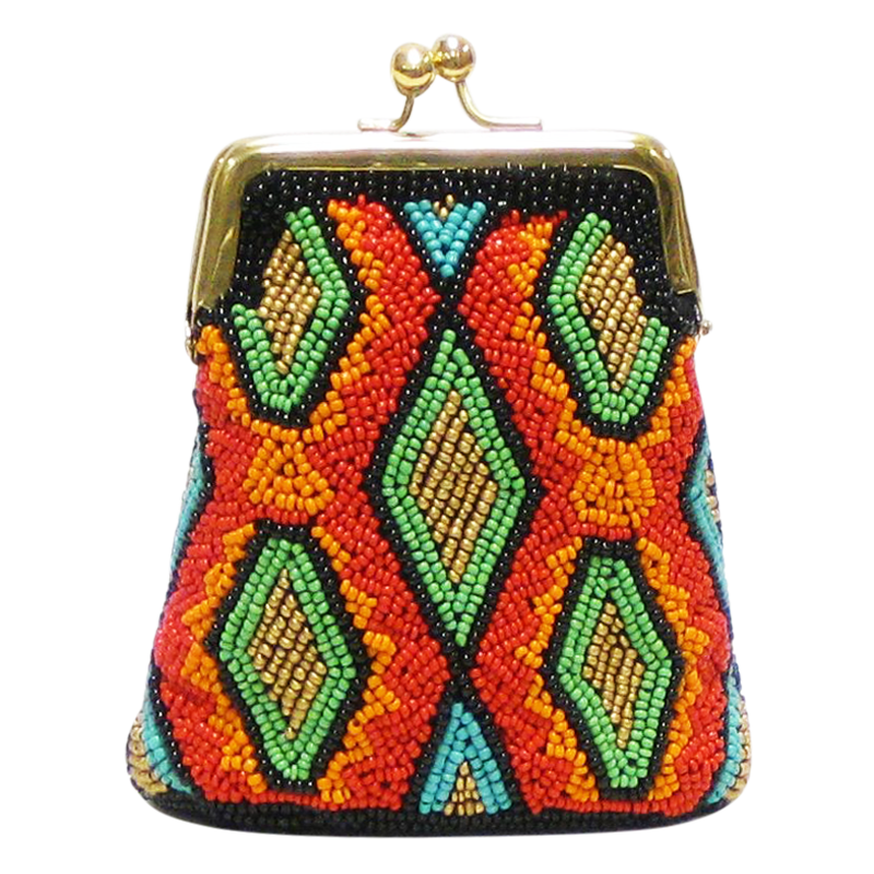 David Jeffery Coin Bag - Orange Brown Blue Green Gold Beads