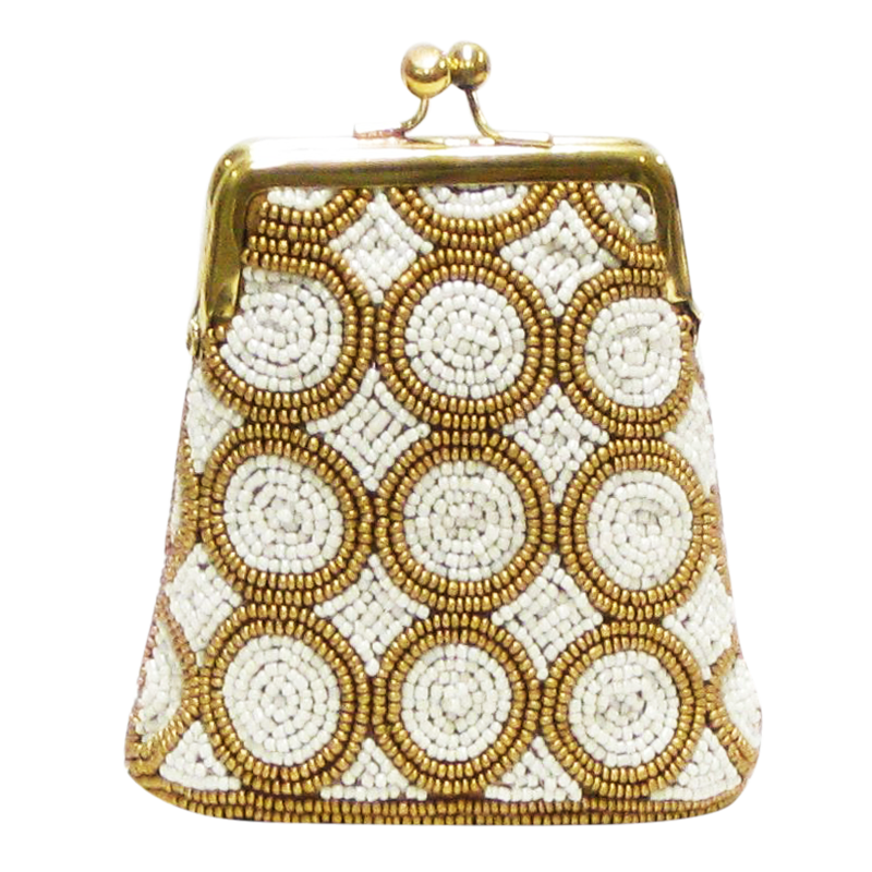 David Jeffery Coin Bag - Ivory & Gold Beads