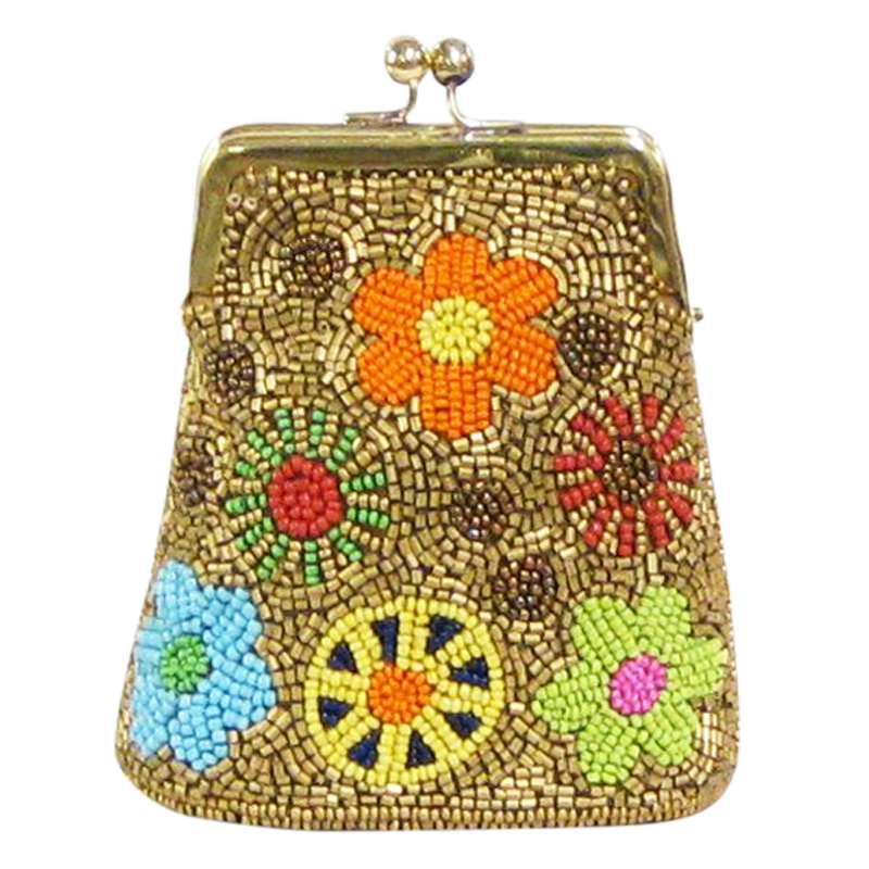 David Jeffery Coin Bag - Gold Beads w/Multicolor Flowers