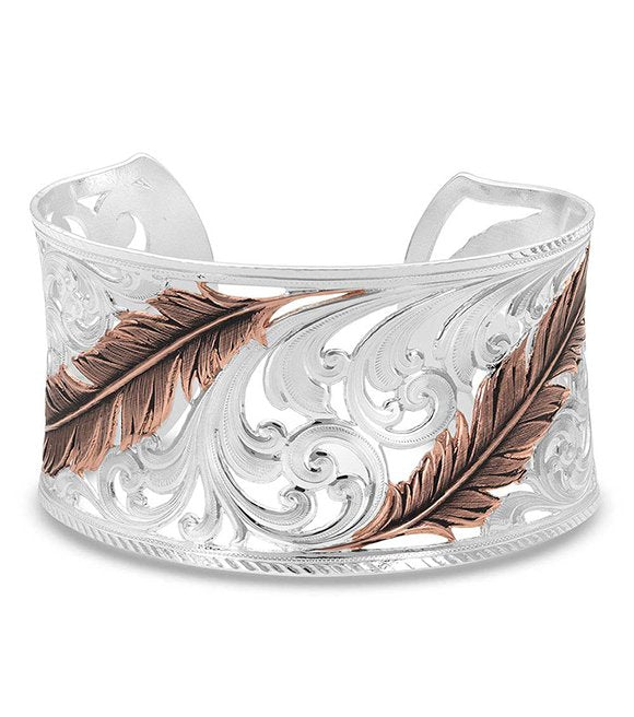 Heavenly Whispers Feather Cuff Bracelet by Montana Silversmiths