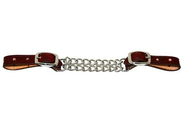 Double Chain Leather Curb Strap