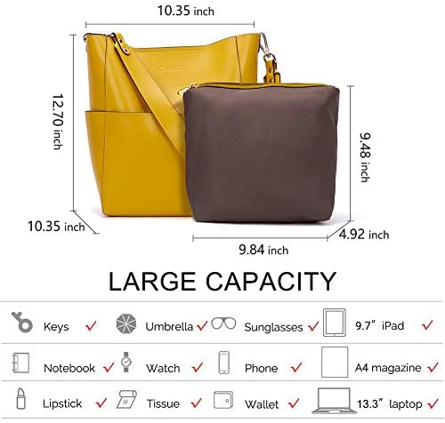 Women's Leather Handbags Tote Purses Shoulder Bucket Bags