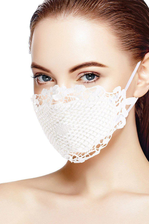 All White 3d Lace Face Mask