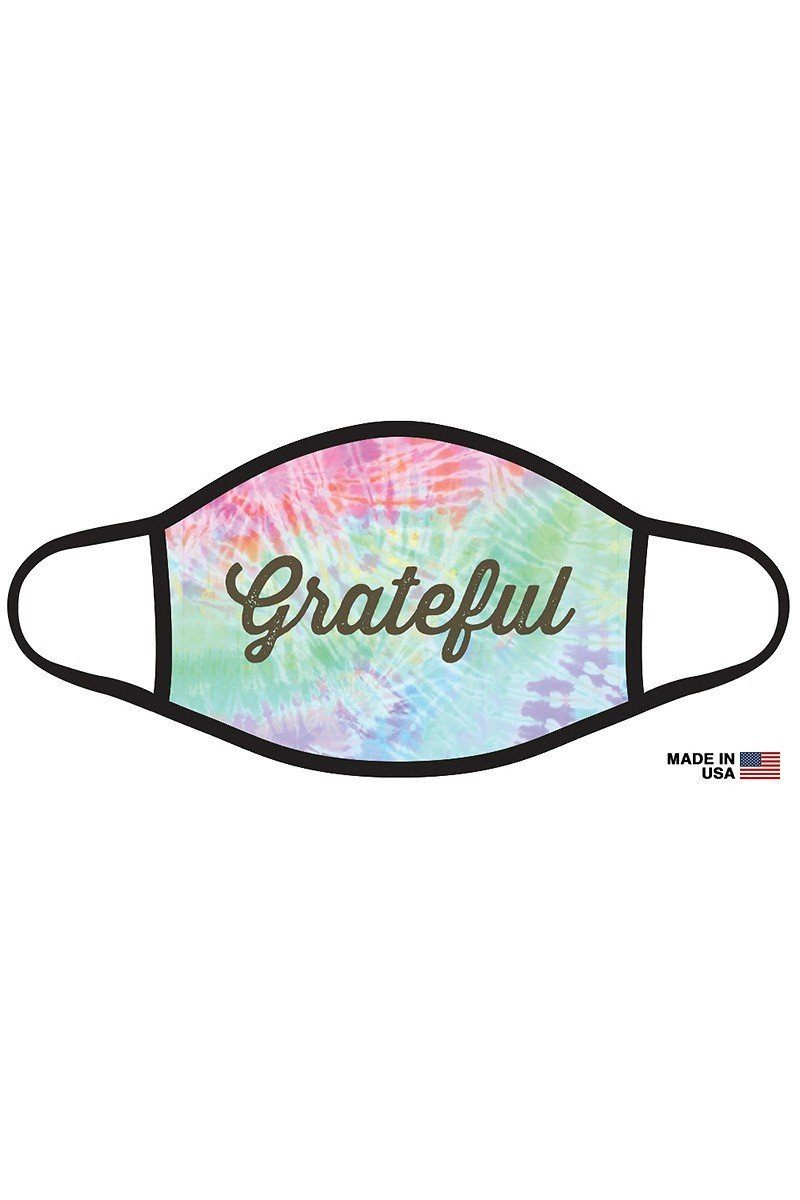 """Grateful"" Graphic Printed Face Mask Unisex Adult"