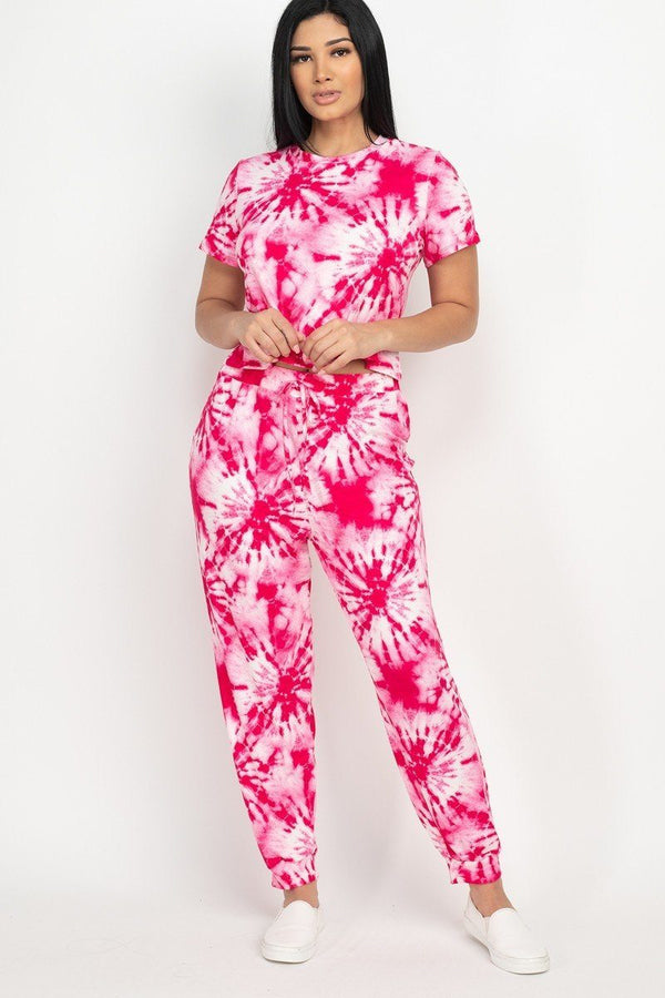 Tie-dye Printed Top And Pants Set