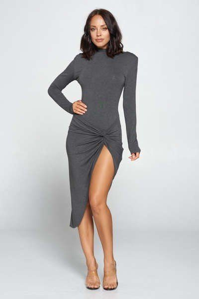 Long Sleeve Bodycon Knott Dress