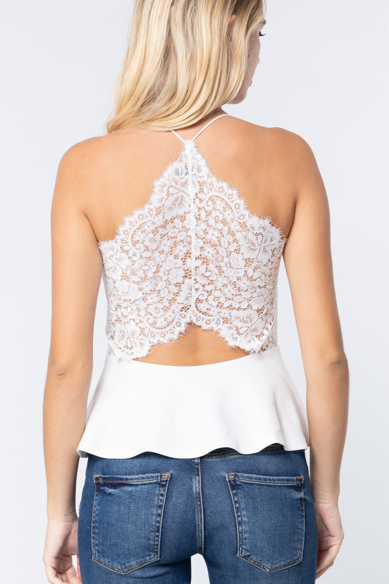 V-neck Cami Peplum Knit Top