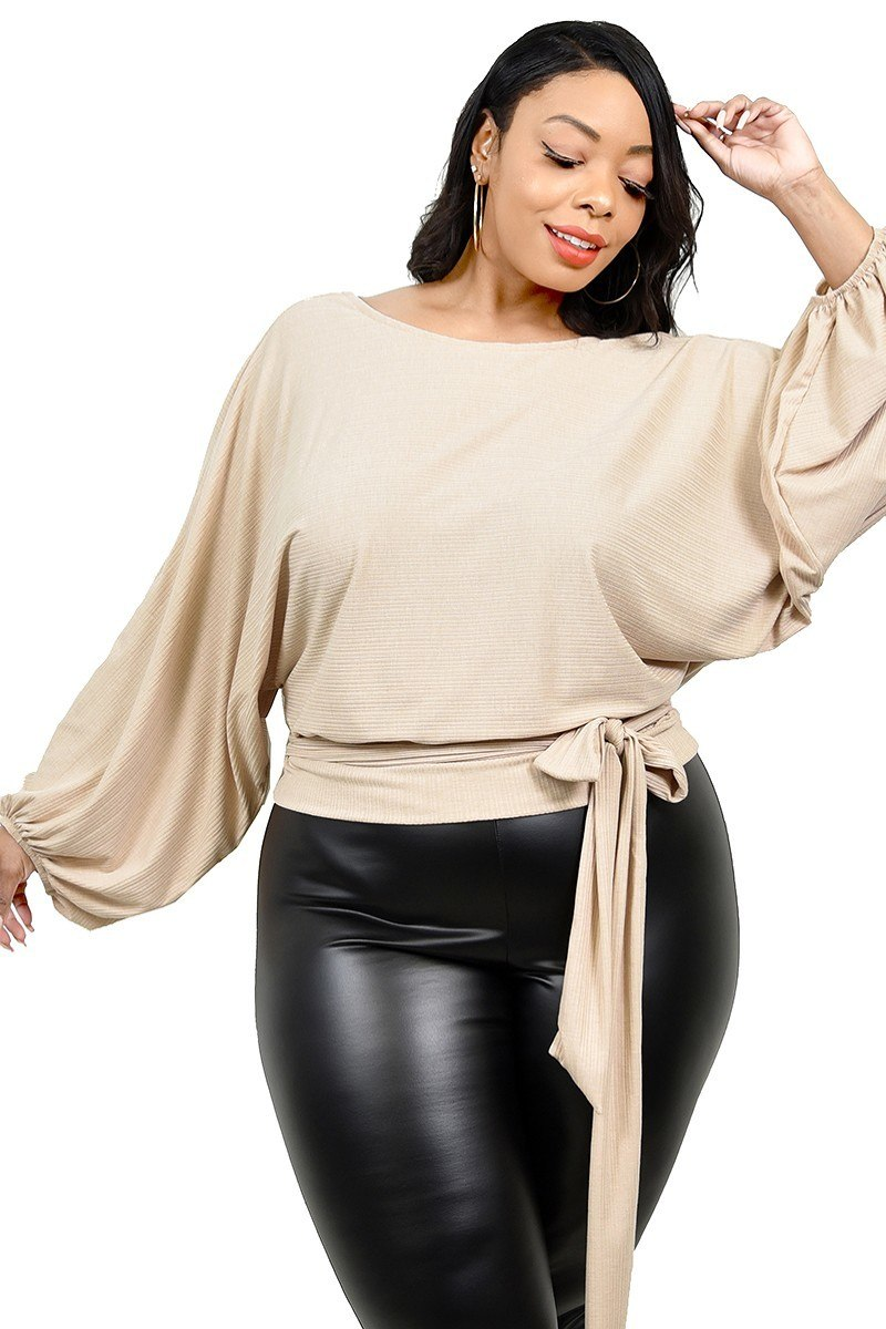 Plus Relaxed Long Sleeve Tie Waist Top