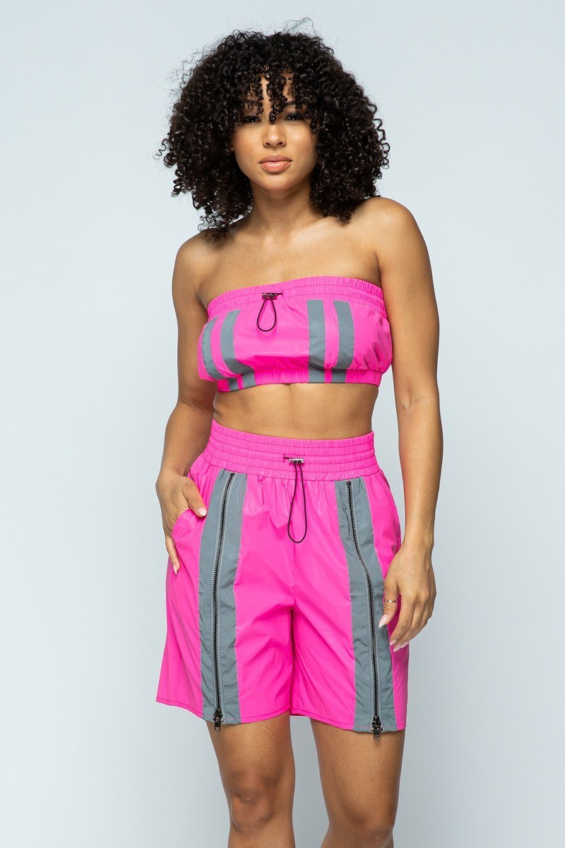 Cropped Mini Tube Top/lined Thigh Length Shorts Set