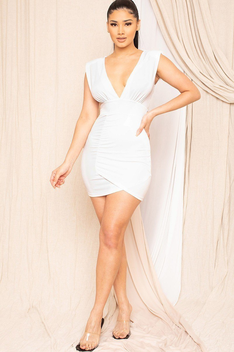 Plunging V-neck Mini Dress