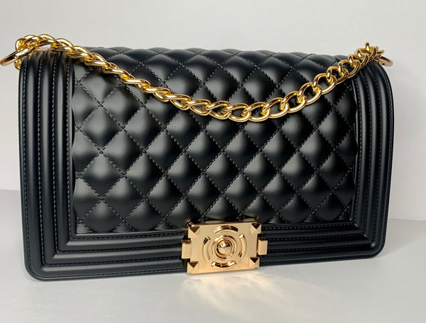 Designer Inspired Quilted Double Chain Bag