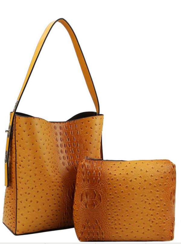 2IN1 CROCO PATTERN STYLISH TOTE BAG