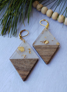 Gold and Wood earrings