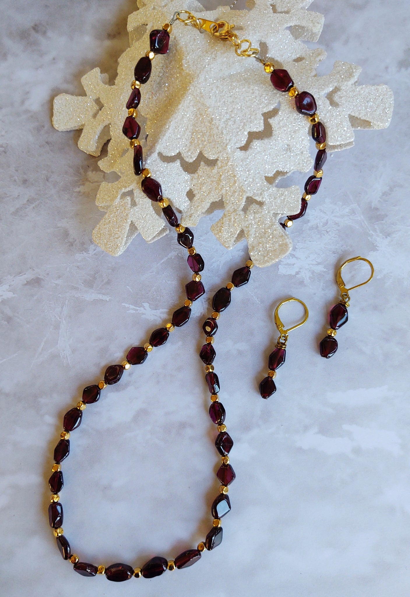 Garnet Necklace and Earrings Set