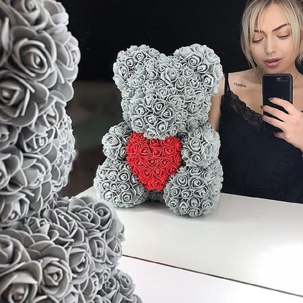 Gray Rose Bear (Red Heart)