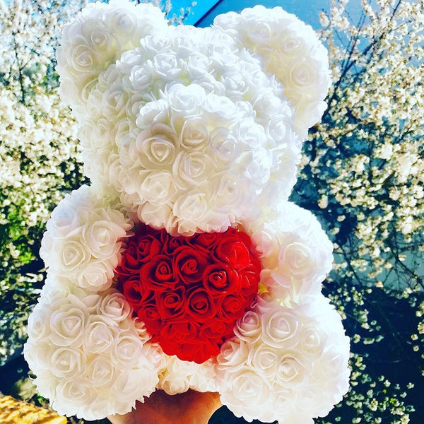 White Rose Bear (Red Heart)