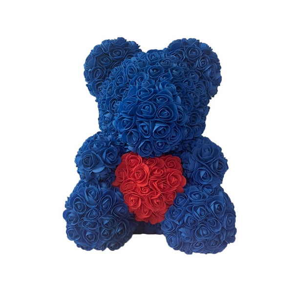 Deep Blue Rose Bear (Red Heart)