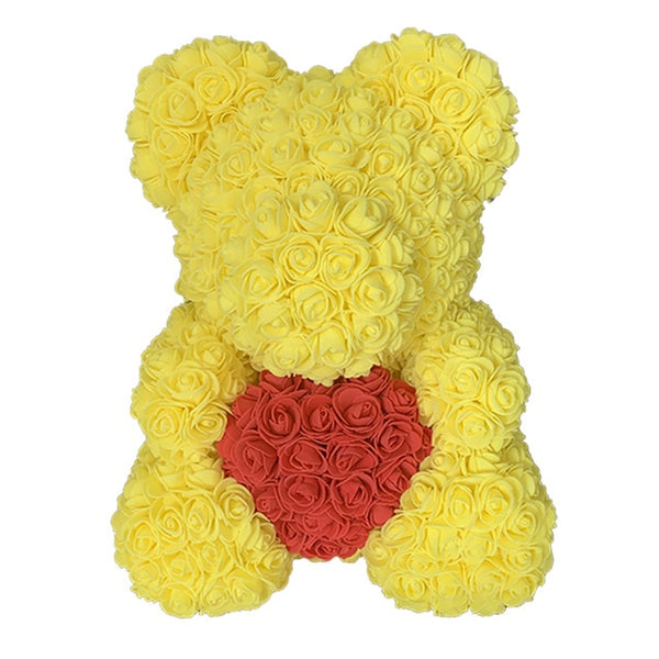 Yellow Rose Bear (Red Heart)