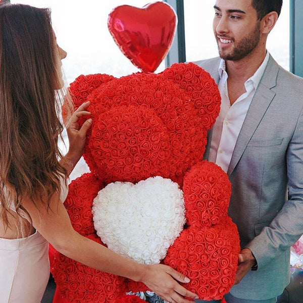 Red Rose Bear (White Heart)
