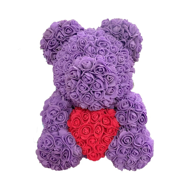 Purple Rose Bear (Red Heart)