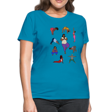 Load image into Gallery viewer, Curvy Black Yoga Lover Women's T-Shirt - turquoise