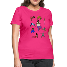 Load image into Gallery viewer, Curvy Black Yoga Lover Women's T-Shirt - fuchsia