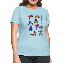 Load image into Gallery viewer, Curvy Black Yoga Lover Women's T-Shirt - powder blue