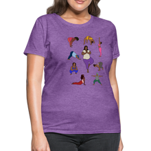 Load image into Gallery viewer, Curvy Black Yoga Lover Women's T-Shirt - purple heather