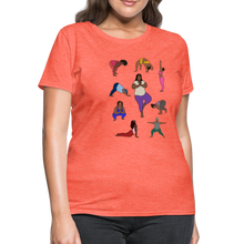 Load image into Gallery viewer, Curvy Black Yoga Lover Women's T-Shirt - heather coral