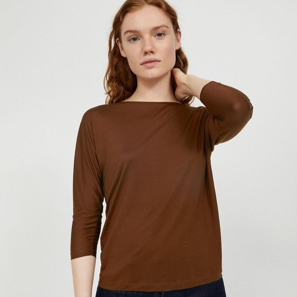 T-shirt manches 3/4 cacao en Tencel