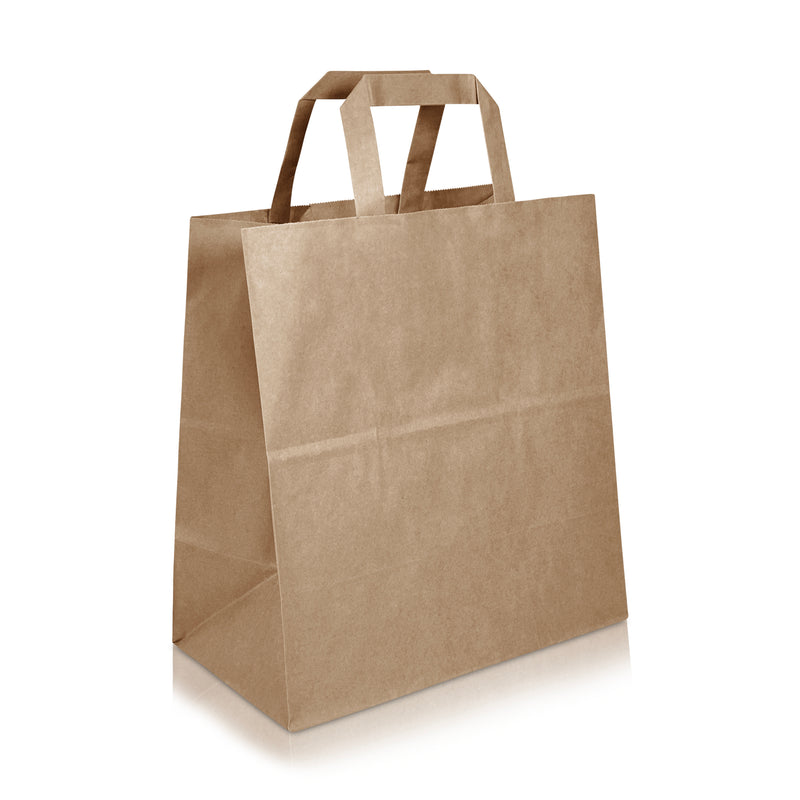 "LEO 10 ¾ x 6 1/3 x 11 ½ "" Inches - Kraft Paper FLAT Handles Shopping Bag"