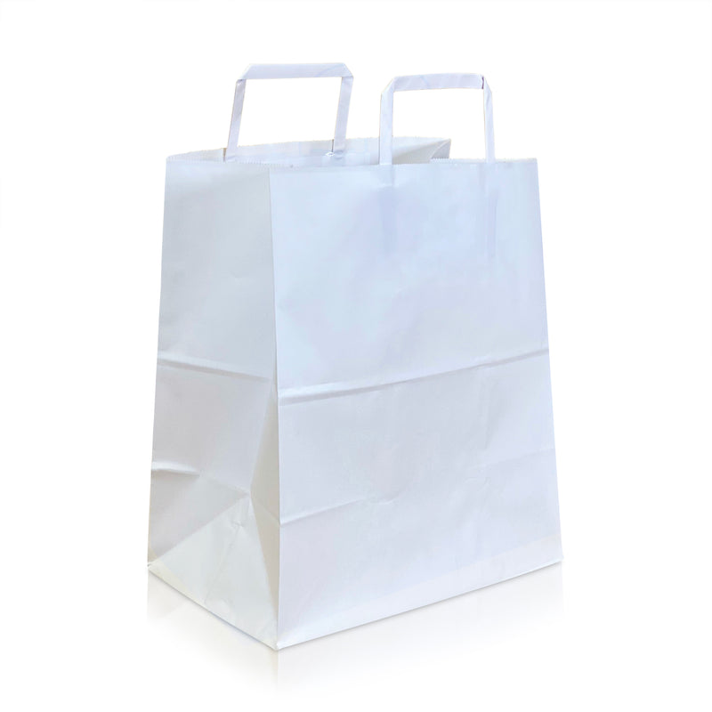 "RAY 10 ¾ x 6 1/3 x 11 ½ "" Inches - Kraft Paper FLAT Handles Shopping Bag"
