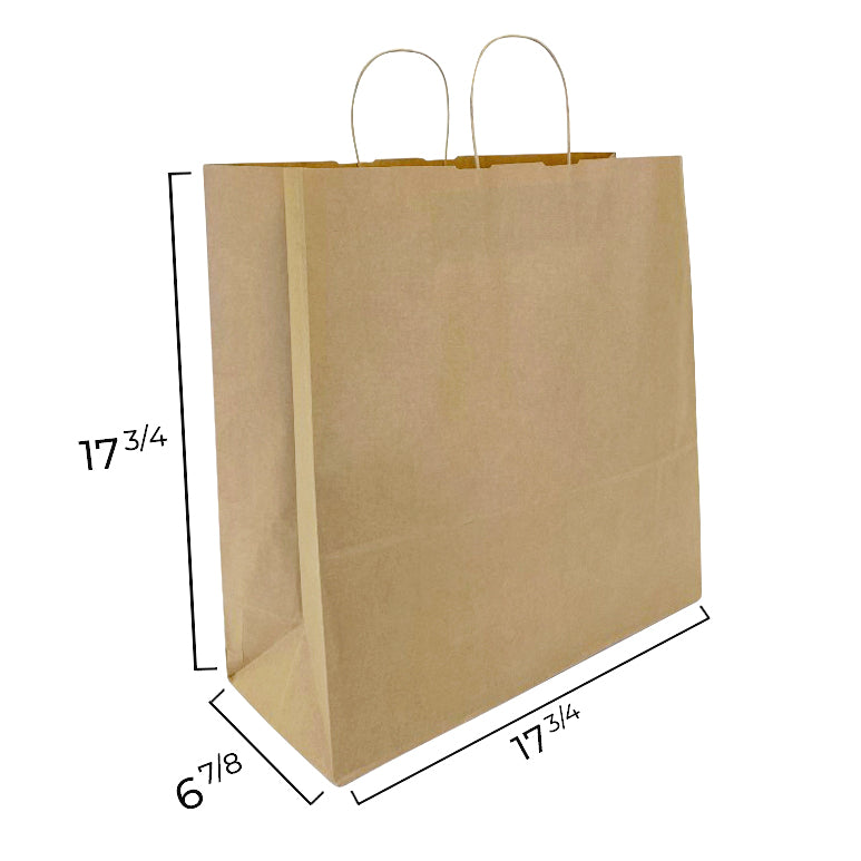 NINA Kraft Paper Shopping Bag Measurements shoppaperbags.com