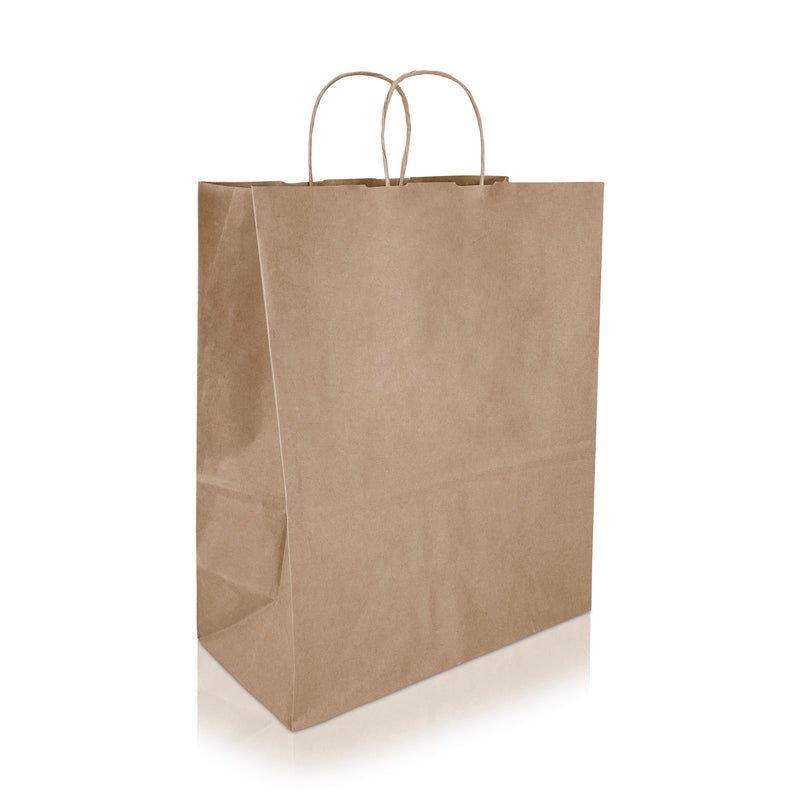"ALMA 13 ¾ x 6 7/8 x 17"" Inches - Kraft Paper Shopping Bag"