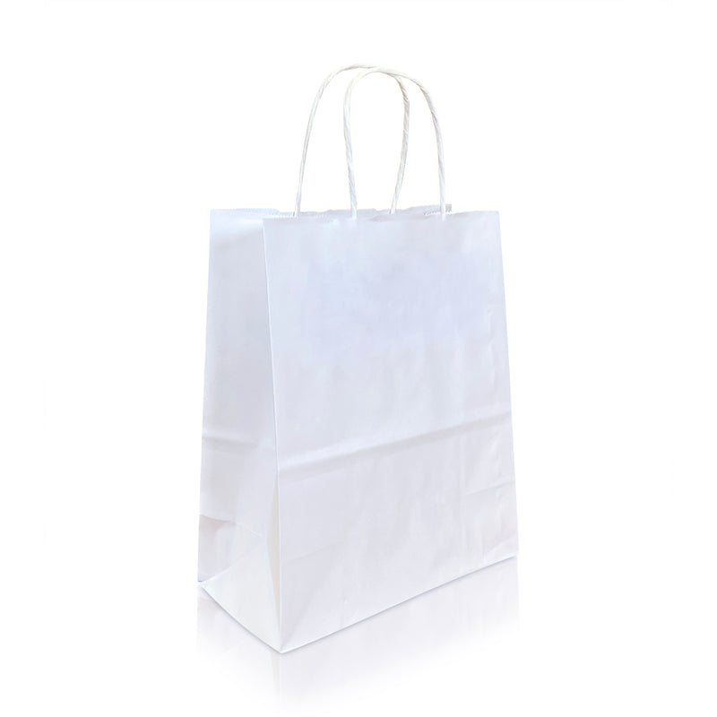 "BORA 8 ¾ x 4 ¾ x 10 ¼ "" Inches – WHITE Kraft Paper Shopping Bag with Twisted Paper Handles"